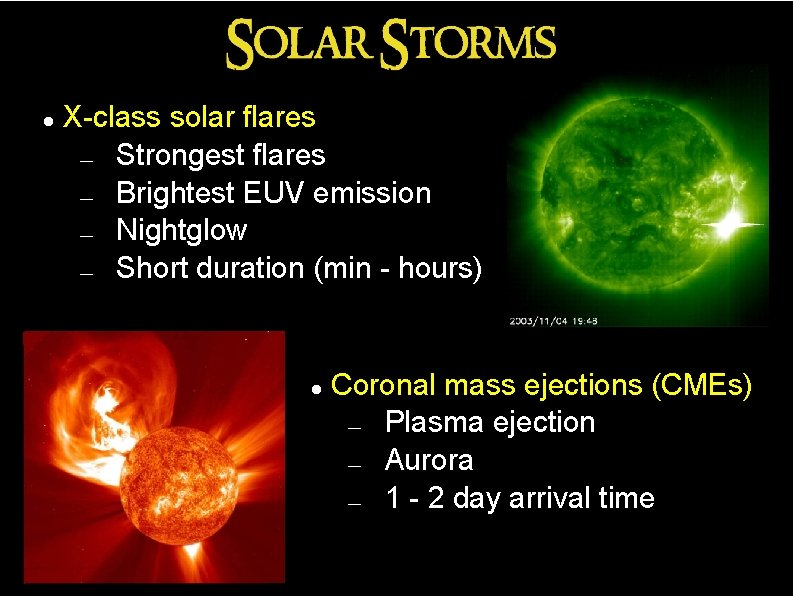 X-class solar flares ― Strongest flares ― Brightest EUV emission ― Nightglow ―