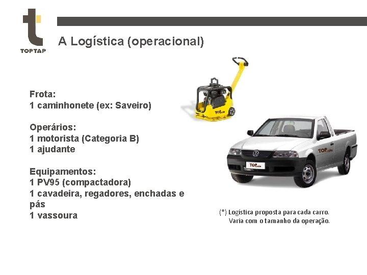 A Logística (operacional) Frota: 1 caminhonete (ex: Saveiro) Operários: 1 motorista (Categoria B) 1