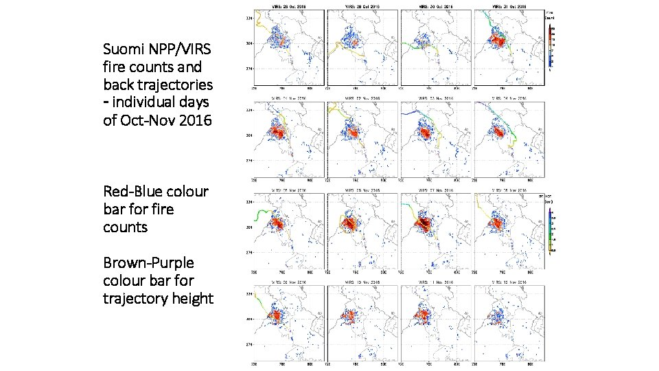 Suomi NPP/VIRS fire counts and back trajectories – individual days of Oct-Nov 2016 Red-Blue