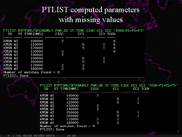 PTLIST computed parameters with missing values