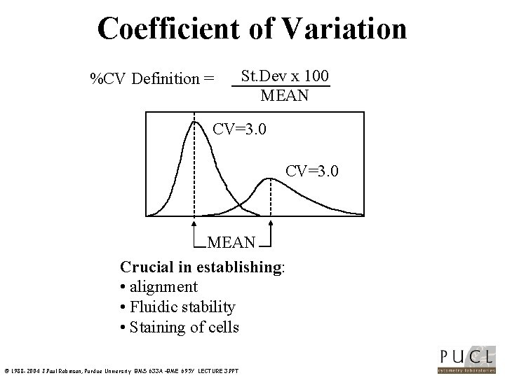 Coefficient of Variation %CV Definition = St. Dev x 100 MEAN CV=3. 0 MEAN