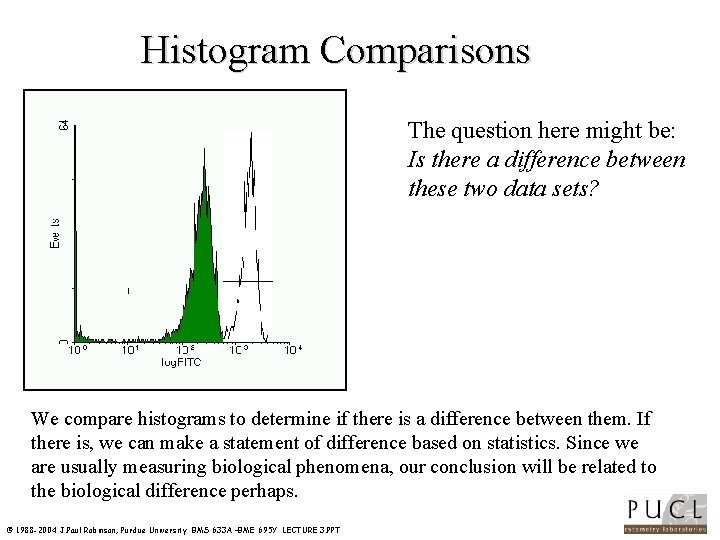 Histogram Comparisons The question here might be: Is there a difference between these two