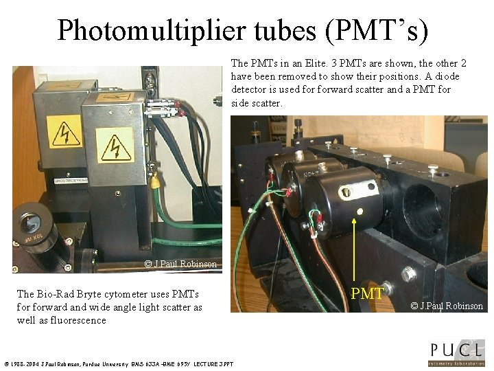 Photomultiplier tubes (PMT's) The PMTs in an Elite. 3 PMTs are shown, the other