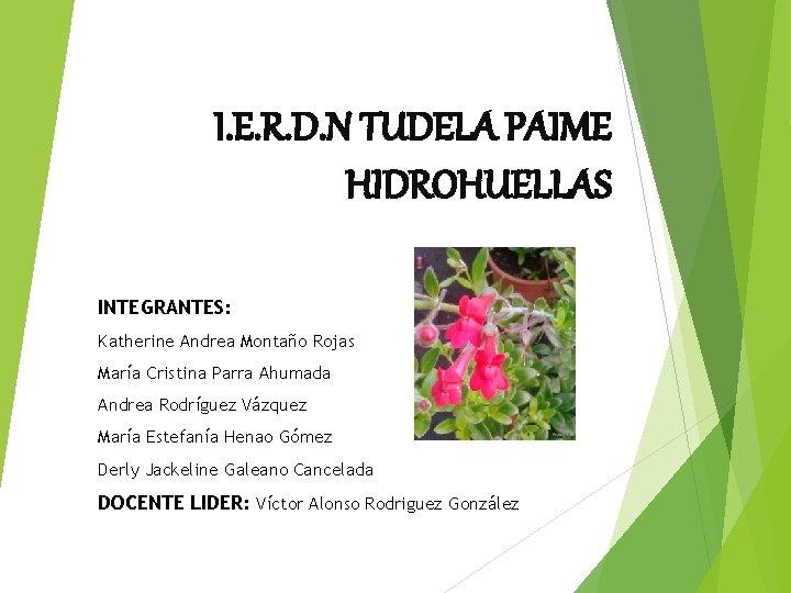 I. E. R. D. N TUDELA PAIME HIDROHUELLAS INTEGRANTES: Katherine Andrea Montaño Rojas María