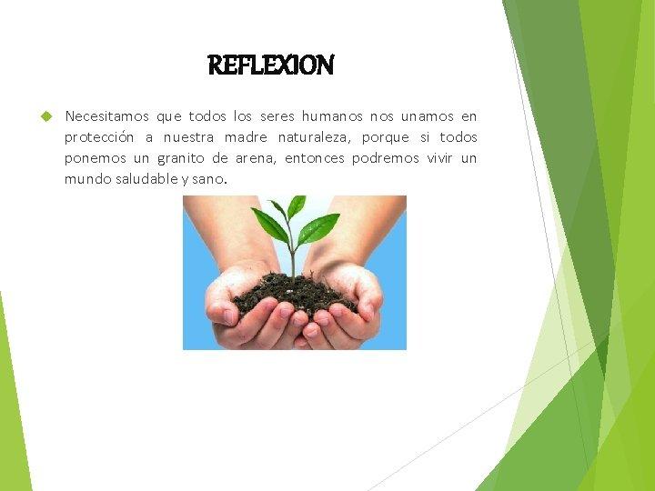 REFLEXION Necesitamos que todos los seres humanos unamos en protección a nuestra madre naturaleza,