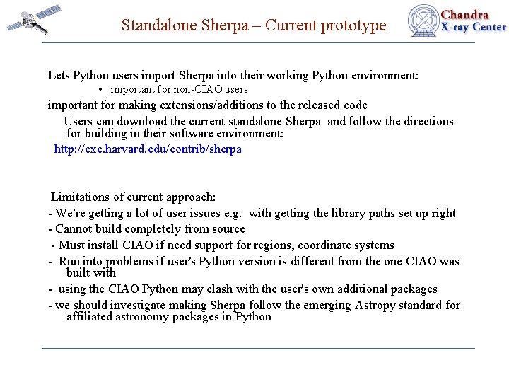 Standalone Sherpa – Current prototype Lets Python users import Sherpa into their working Python