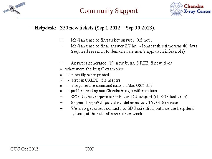 Community Support – Helpdesk: 359 new tickets (Sep 1 2012 – Sep 30 2013),