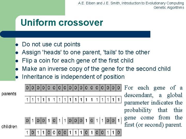A. E. Eiben and J. E. Smith, Introduction to Evolutionary Computing Genetic Algorithms Uniform