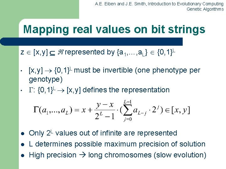 A. E. Eiben and J. E. Smith, Introduction to Evolutionary Computing Genetic Algorithms Mapping