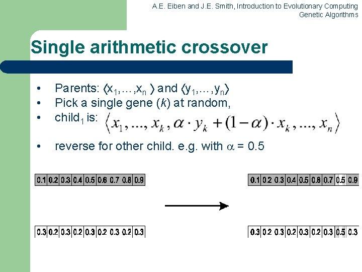 A. E. Eiben and J. E. Smith, Introduction to Evolutionary Computing Genetic Algorithms Single