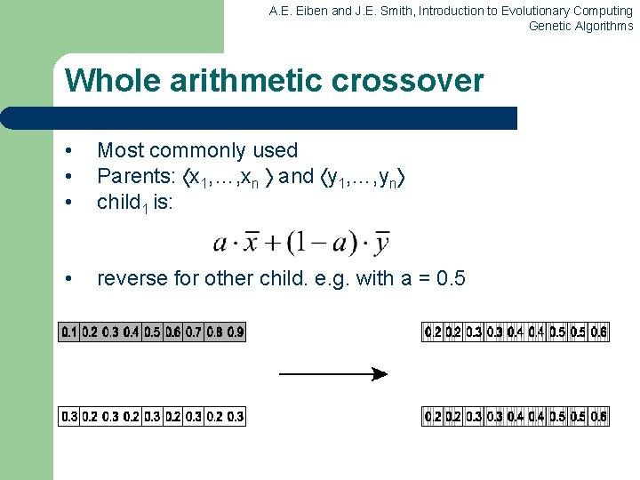 A. E. Eiben and J. E. Smith, Introduction to Evolutionary Computing Genetic Algorithms Whole