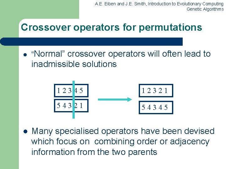 A. E. Eiben and J. E. Smith, Introduction to Evolutionary Computing Genetic Algorithms Crossover