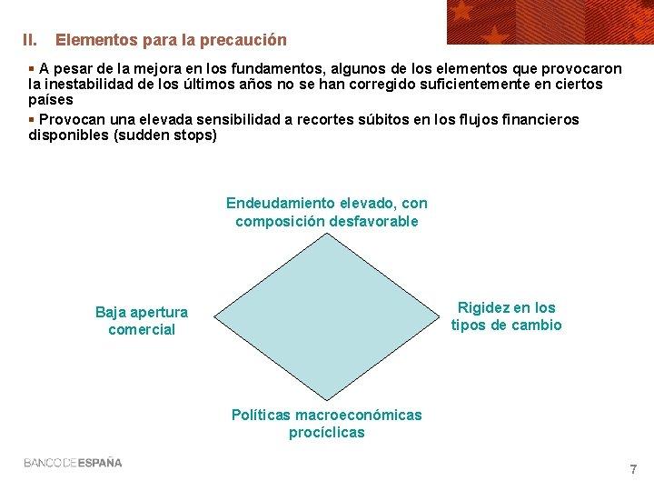 II. Elementos para la precaución § A pesar de la mejora en los fundamentos,