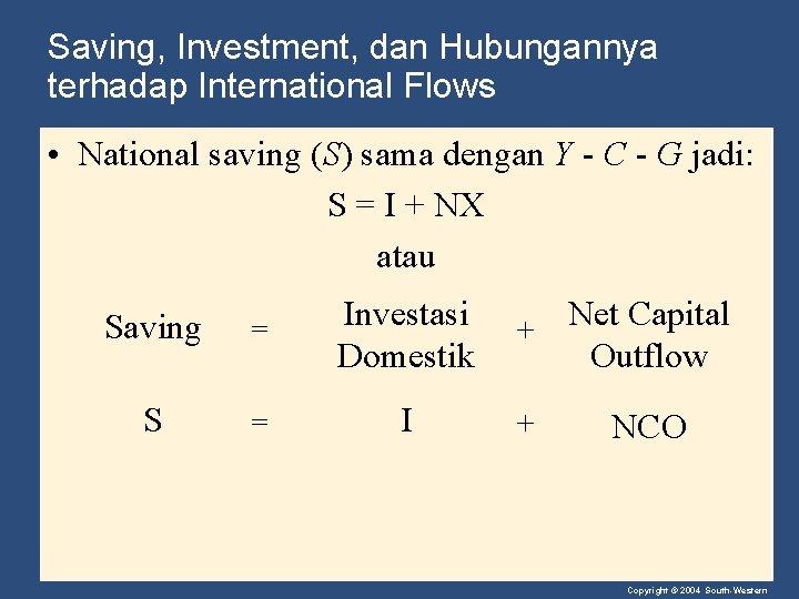 Saving, Investment, dan Hubungannya terhadap International Flows • National saving (S) sama dengan Y