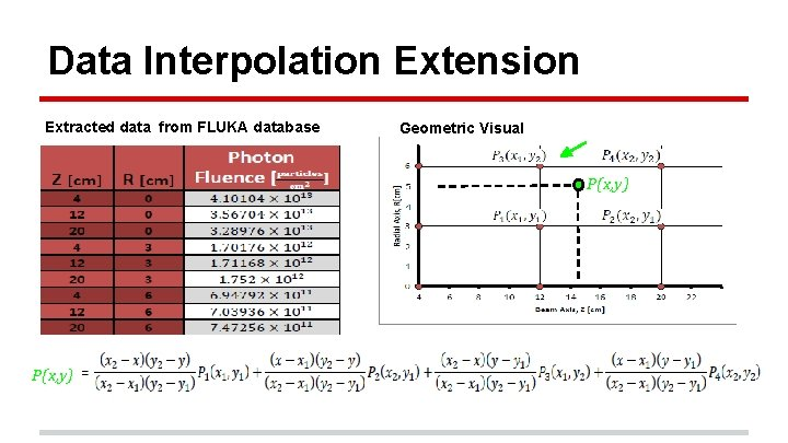Data Interpolation Extension Extracted data from FLUKA database Geometric Visual P(x, y)
