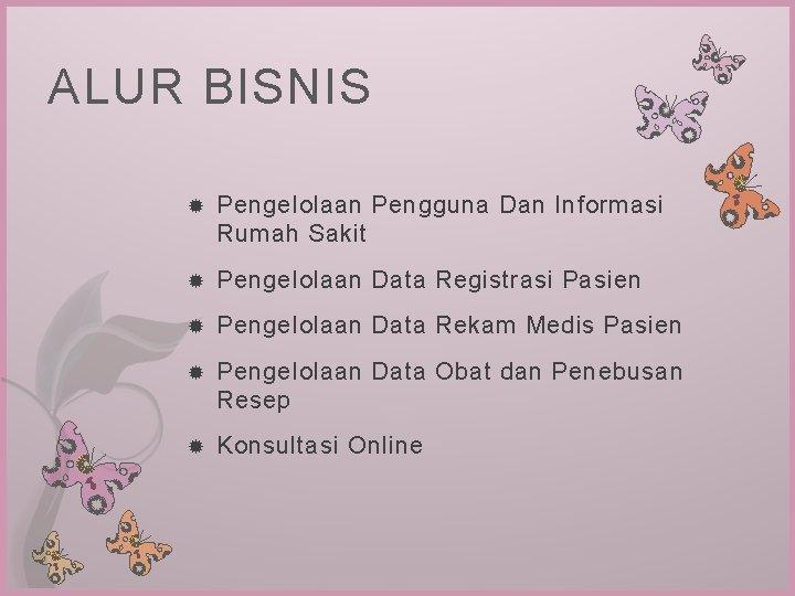 ALUR BISNIS Pengelolaan Pengguna Dan Informasi Rumah Sakit Pengelolaan Data Registrasi Pasien Pengelolaan Data