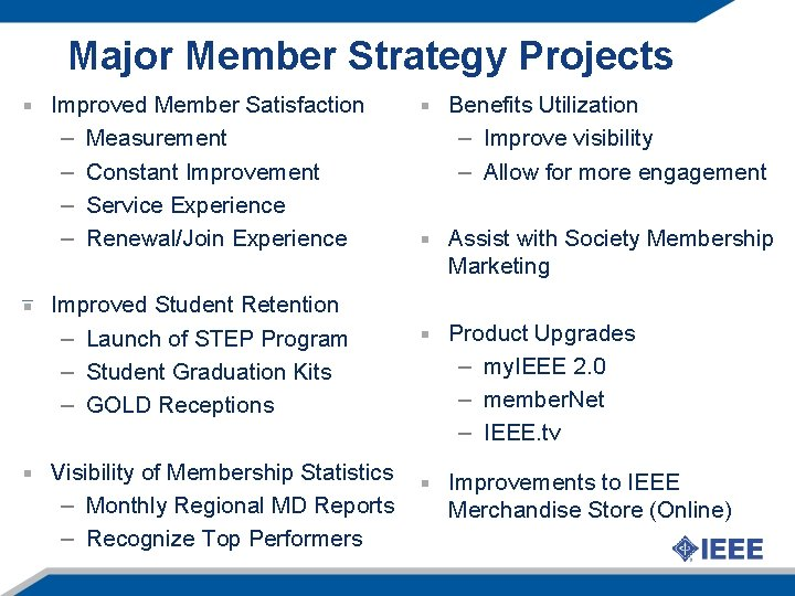Major Member Strategy Projects Improved Member Satisfaction – Measurement – Constant Improvement – Service