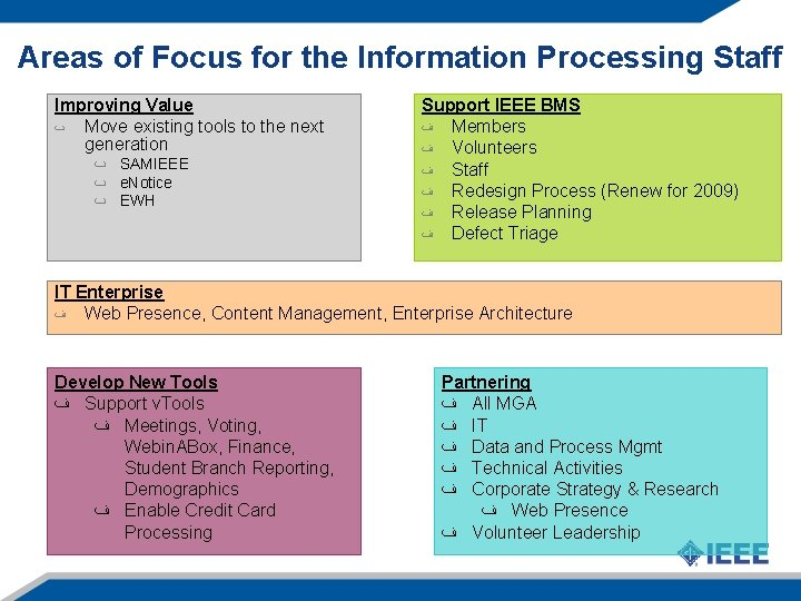 Areas of Focus for the Information Processing Staff Improving Value ٮ Move existing tools