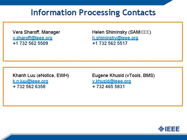 Information Processing Contacts Vera Sharoff, Manager v. sharoff@ieee. org +1 732 562 5509 Helen
