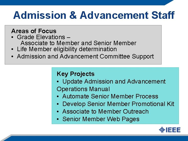 Admission & Advancement Staff Areas of Focus • Grade Elevations – Associate to Member