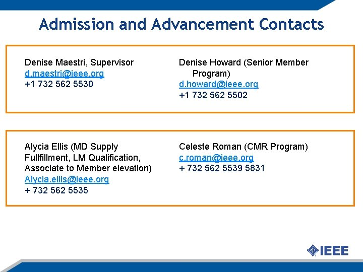 Admission and Advancement Contacts Denise Maestri, Supervisor d. maestri@ieee. org +1 732 562 5530