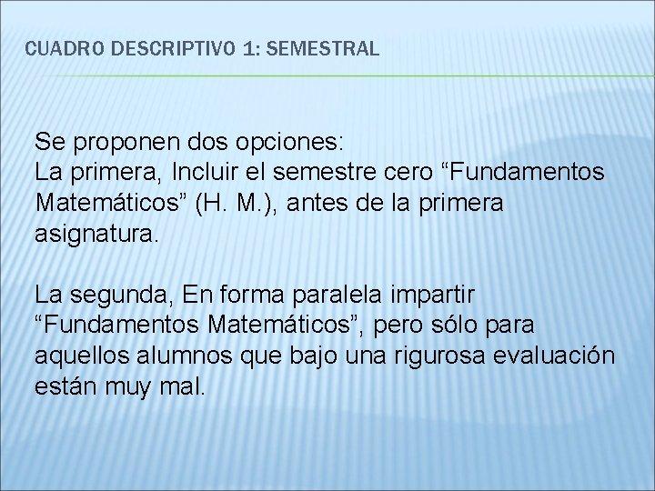 CUADRO DESCRIPTIVO 1: SEMESTRAL Se proponen dos opciones: La primera, Incluir el semestre cero