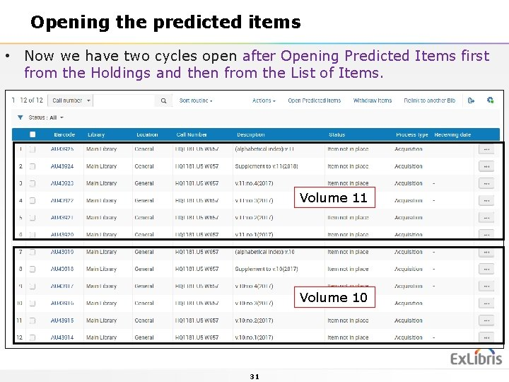 Opening the predicted items • Now we have two cycles open after Opening Predicted