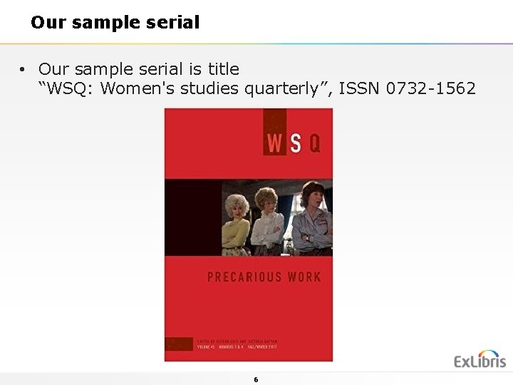 """Our sample serial • Our sample serial is title """"WSQ: Women's studies quarterly"""", ISSN"""