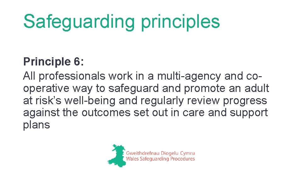 Safeguarding principles Principle 6: All professionals work in a multi-agency and cooperative way to