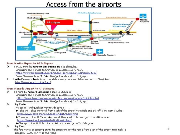 Access from the airports AP Ichigaya From Narita Airport to AP Ichigaya Ø 80