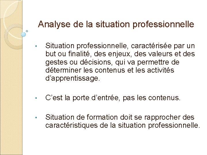 Analyse de la situation professionnelle • Situation professionnelle, caractérisée par un but ou finalité,