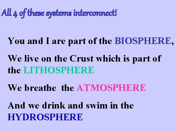 All 4 of these systems interconnect! You and I are part of the BIOSPHERE,