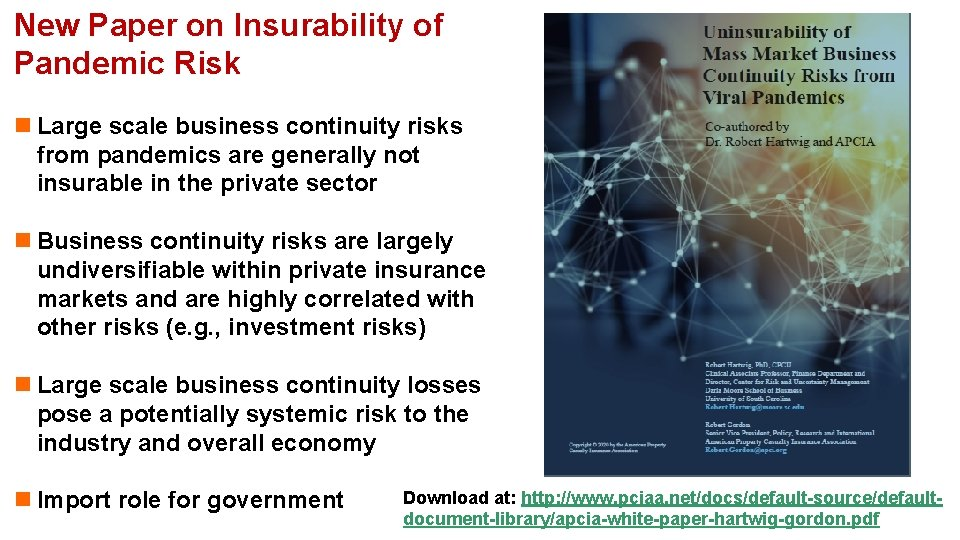 New Paper on Insurability of Pandemic Risk n Large scale business continuity risks from