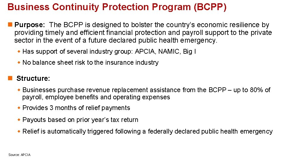 Business Continuity Protection Program (BCPP) n Purpose: The BCPP is designed to bolster the