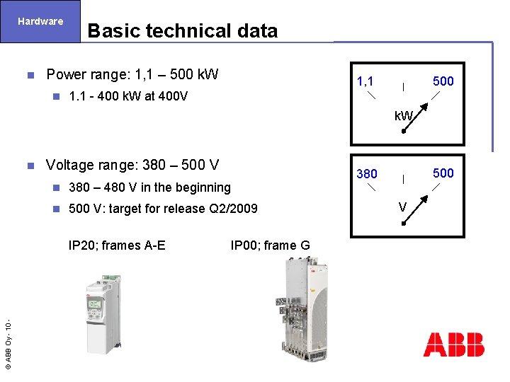 Hardware n Basic technical data Power range: 1, 1 – 500 k. W n