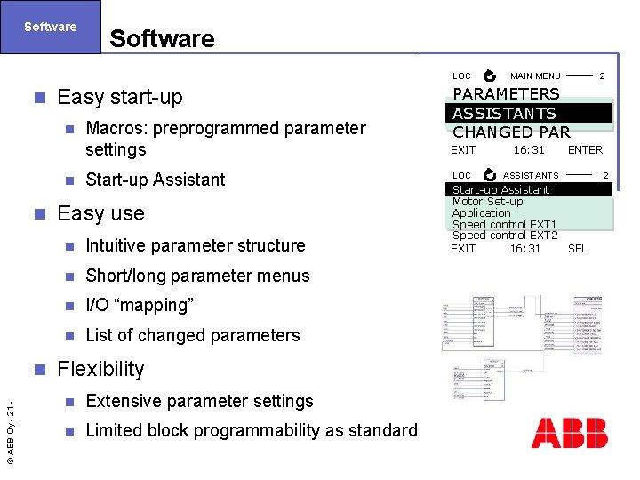Software LOC n Easy start-up n n n © ABB Oy - 21 n