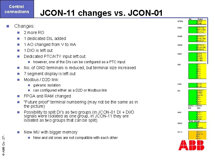 Control connections n JCON-11 changes vs. JCON-01 Changes: n n n 2 more RO