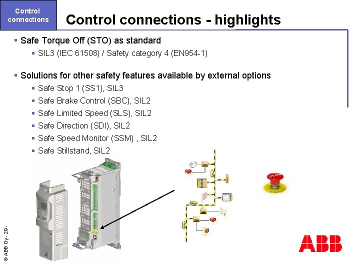 Control connections - highlights § Safe Torque Off (STO) as standard § SIL 3