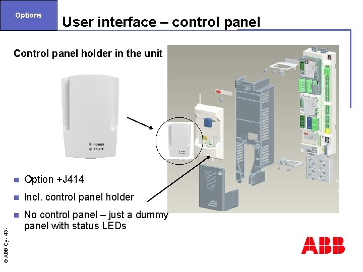 Options User interface – control panel Control panel holder in the unit Option +J