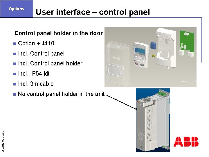 Options User interface – control panel Control panel holder in the door n Option