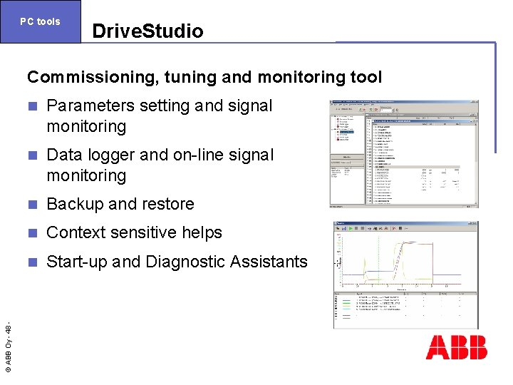 PC tools Drive. Studio © ABB Oy - 48 Commissioning, tuning and monitoring tool
