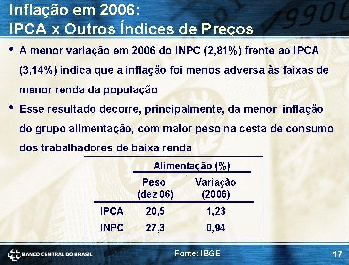 Inflação em 2006: IPCA x Outros Índices de Preços • A menor variação em
