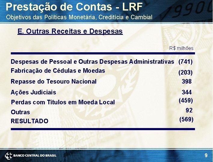 Prestação de Contas - LRF Objetivos das Políticas Monetária, Creditícia e Cambial E. Outras