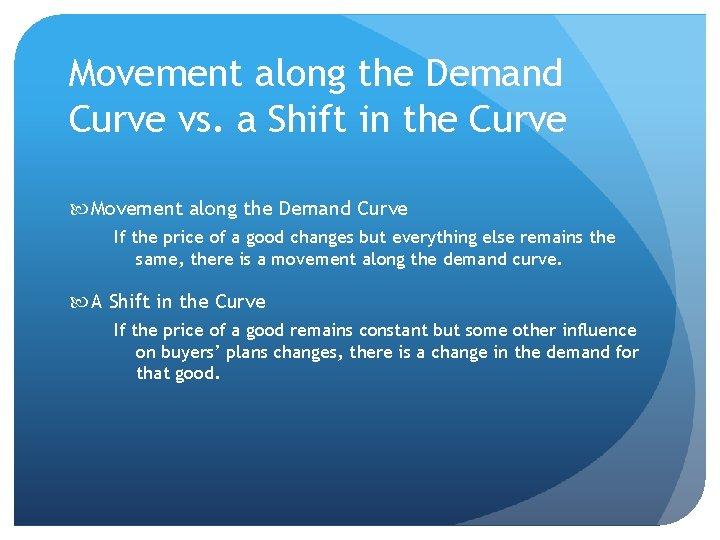 Movement along the Demand Curve vs. a Shift in the Curve Movement along the