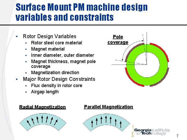 Surface Mount PM machine design variables and constraints • Rotor Design Variables § §