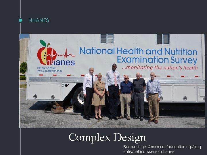 NHANES Complex Design Source: https: //www. cdcfoundation. org/blogentry/behind-scenes-nhanes
