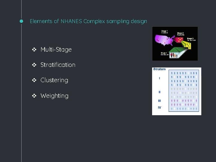 Elements of NHANES Complex sampling design v Multi-Stage v Stratification v Clustering v Weighting