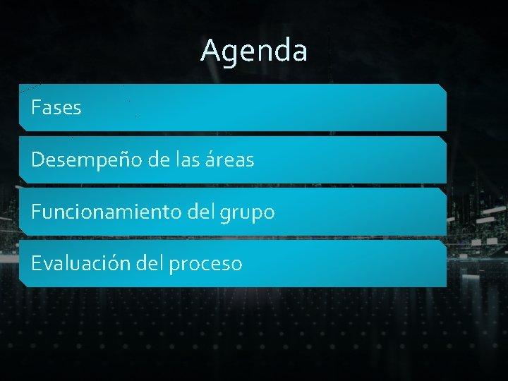 Agenda Fases Desempeño de las áreas Funcionamiento del grupo Evaluación del proceso