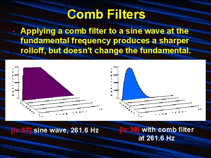 Comb Filters • Applying a comb filter to a sine wave at the fundamental