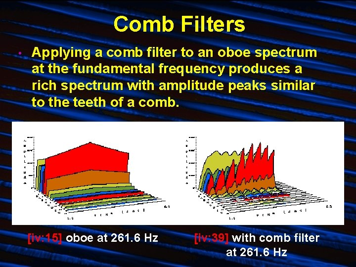 Comb Filters • Applying a comb filter to an oboe spectrum at the fundamental